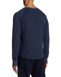 Save Khaki - Blue Stripe Pointelle Raglan Crew Neck Tee for Men - Lyst