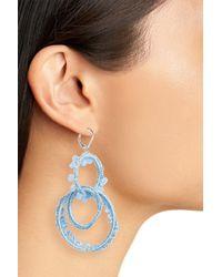 Rebecca Minkoff - Blue Thread Wrapped Interlocking Hoop Earrings - Lyst