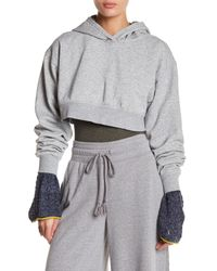 Free People - Gray Where I'm At Cropped Hoodie - Lyst