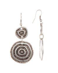 TMRW STUDIO - Metallic Engraved Circle Drop Earrings - Lyst