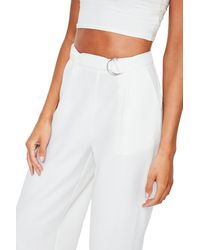 Missguided - White Wide Leg Trousers - Lyst