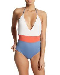 Tavik - Blue Colorblocked Halter One-piece Swimsuit - Lyst