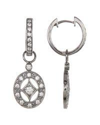 Adornia - Metallic Swarovski Crystal Accented Cutout Drop Earrings - Lyst