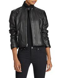 Lauren by Ralph Lauren - Black Front Zip Lambskin Leather Jacket - Lyst