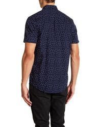 Report Collection - Blue Geo Paisley Short Sleeve Slim Fit Shirt for Men - Lyst
