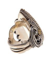 Konstantino - Metallic Erato Sterling Silver & 18k Gold Framed Teardrop Labradorite Ring - Size 7 - Lyst