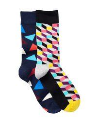 Happy Socks | Blue Combed Cotton Crew Socks - Pack Of 2 for Men | Lyst