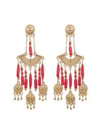 Steve Madden - Multicolor Bead Detail Textured Chandelier Drop Post Earrings - Lyst