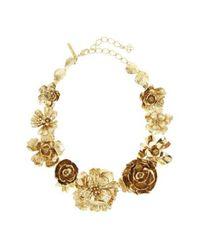 Oscar de la Renta - Metallic Flower Statement Necklace - Lyst