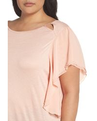 Sejour - Pink Cutout Ruffle Sleeve Top - Lyst