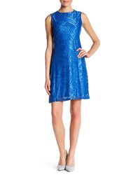 Sharagano - Blue Sleeveless Lace Dress (petite) - Lyst