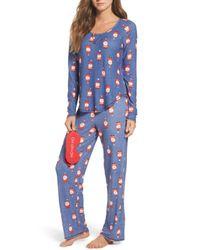Make + Model - Blue Knit Pajamas & Eye Mask - Lyst