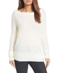 Caslon - White Caslon Long Sleeve Brushed Sweater - Lyst
