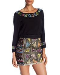Nicole Miller - Black Beaded Dolman Sleeve Blouse - Lyst
