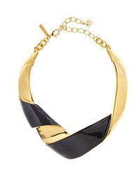 Oscar de la Renta - Black Folded Metal Necklace - Lyst