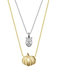 Alex Woo - Metallic Sterling Silver & 14k Gold Mini Owl & Pumpkin Necklace - Set Of 2 - Lyst