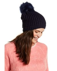 Kyi Kyi - Blue Fox Fur Pom Pom Knit Hat - Lyst