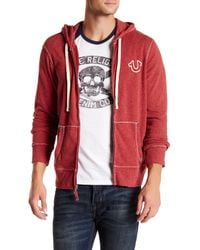 True Religion - Red Hooded Zip Jacket for Men - Lyst