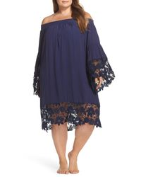 Muche Et Muchette - Blue Jolie Lace Accent Cover-up Dress (plus-size) - Lyst