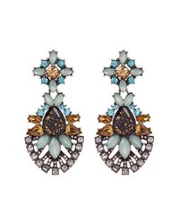 Sparkling Sage - Metallic Silver Plated Crystal Resin Jewel Drop Earrings - Lyst
