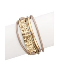 Saachi - Metallic Taupe Gold Unpaved Bar Leather Bracelet - Lyst