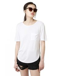 TOPSHOP - White Pocket Tee - Lyst