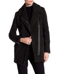 Andrew Marc | Black Zoe Asymmetrical Zip Wool Coat | Lyst
