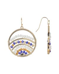 Jessica Simpson - Multicolor Wire-wrapped Faceted Bead Detail Round Earrings - Lyst