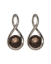 Liberty - Metallic Polished Sterling Silver Smoky Quartz Infinity Post Earrings - Lyst