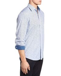 Bugatchi Blue Freehand Pin Lines Classic Fit Sport Shirt for men