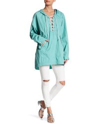 Free People - Blue Popling Lace Up Pullover - Lyst