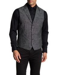 John Varvatos | Black Garment Washed Slim Fit Peal Lapel Vest for Men | Lyst