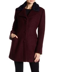 Laundry by Shelli Segal - Purple Fit & Flare Faux Shearling Trimmed Wool Blend Coat - Lyst