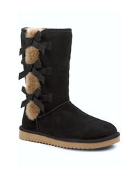 Ugg - Black Victoria Tall Genuine Dyed Sheepskin Trim & Lined Boot - Lyst