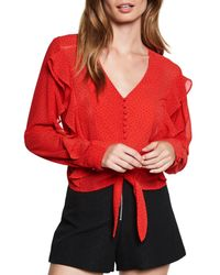 Bardot - Red Dotted Tie Top - Lyst