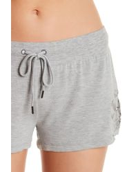 Pj Salvage - Gray Floral Crochet Lounge Shorts - Lyst