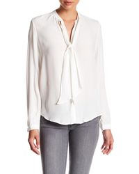 Lucky Brand - White Tie Neck Blouse - Lyst