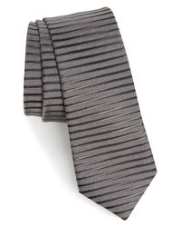 Calibrate - Gray Brewer Stripe Silk Tie for Men - Lyst