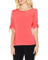 Vince Camuto - Pink Ruched Elbow Sleeve Top - Lyst