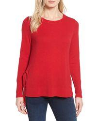 Halogen | Red (r) Side Tie Cashmere Sweater (regular & Petite) | Lyst