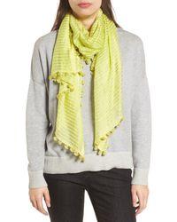 Eileen Fisher - Yellow Stripe Cotton & Silk Scarf - Lyst