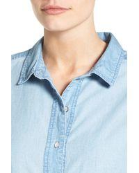 Caslon Blue Fray Hem Chambray Shirtdress (regular & Petite)