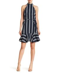 Dress Forum - Blue Mock Neck Stripe Dress - Lyst