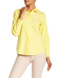 Foxcroft - Yellow Diane Long Sleeve Shaped Blouse - Lyst