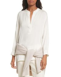Vince - White Shirred Stretch Silk Blouse - Lyst