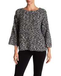 Eileen Fisher - Gray Bateau Neck Boucle Wool Blend Pullover Sweater - Lyst