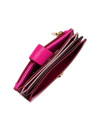 Fossil - Purple Mini Leather Tab Wallet - Rfid Protection - Lyst