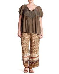 Breathless - Multicolor Printed Wide Leg Pants (plus Size) - Lyst