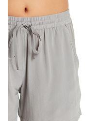 Acrobat - Gray Solid Drawstring Silk Shorts - Lyst
