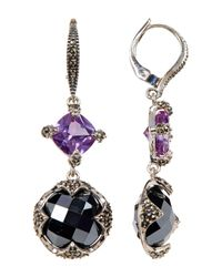 Judith Jack - Multicolor Sterling Silver Princess & Round Crystal & Marcasite Detail Drop Earrings - Lyst